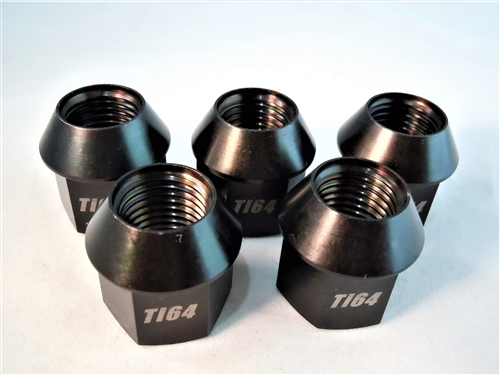 M14-1.5 Lug Nut, Black, 19mm Wrench, 60 Deg. Tapered Seat, 5  Pack