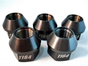 "1/2""-20 Lug Nut, 3/4"" Wrench, 60 Deg. Tapered Seat, Black, 5 Pack"