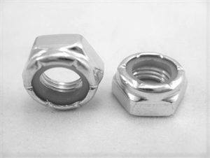 "3/8""-24 Steel Nylon Insert Lock Nut, Half Height"